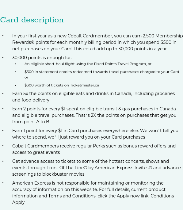 Apply for the American Express Cobalt Credit Card