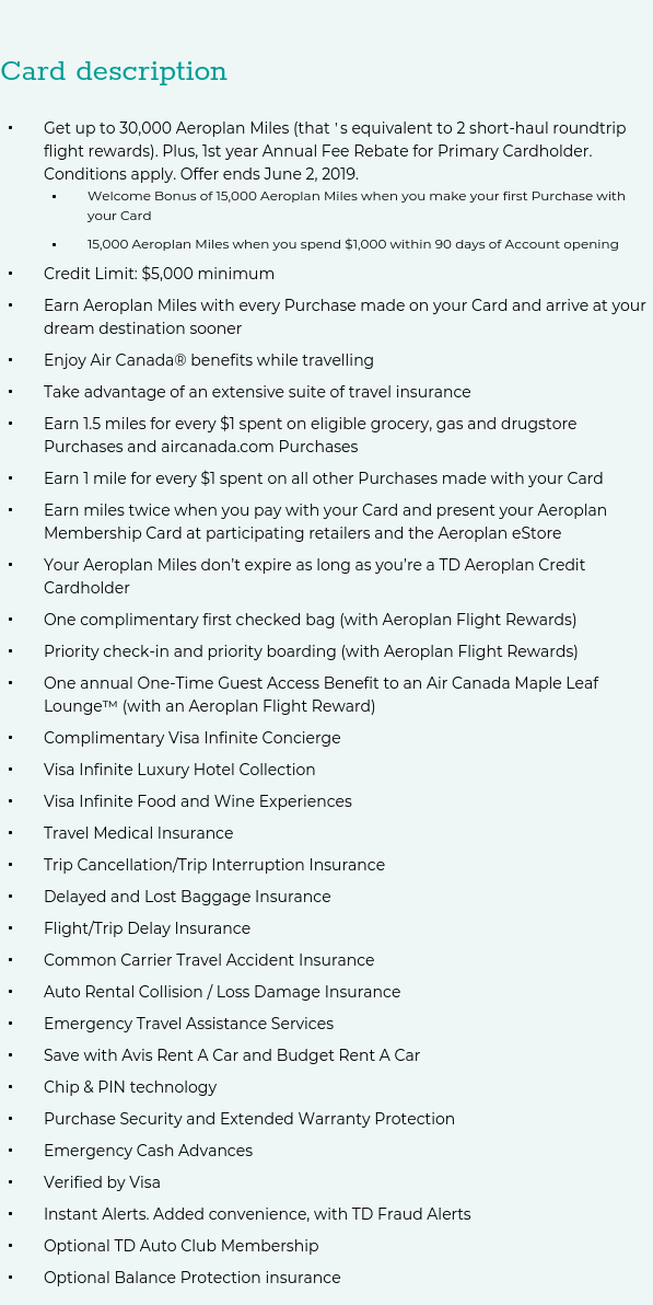 Td Aeroplan Visa Infinite Travel Insurance Policy