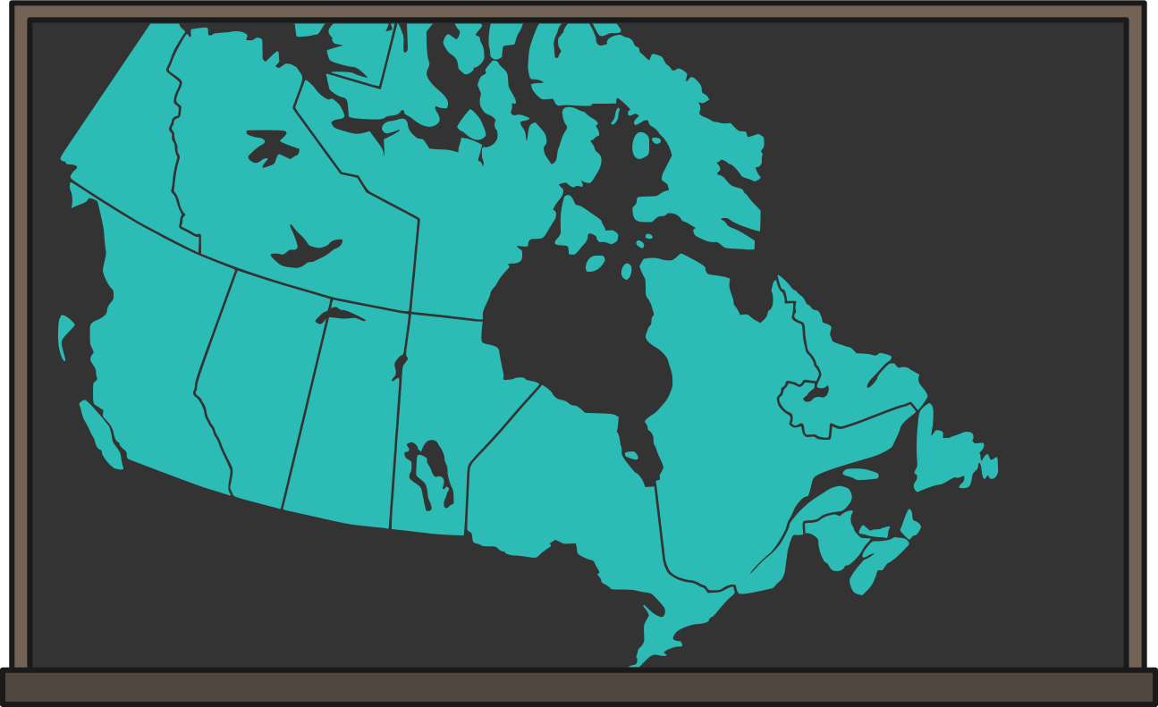 A map of Canada on a chalkboard